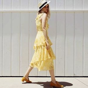 Anthropologie dRA Sunny Days Ruffled Midi Dress L